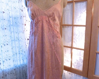 Guess Silk Party Dress Mauve Lace Insets Embroidered Old Rose 90s does 20s slinky silky dress gown size 3
