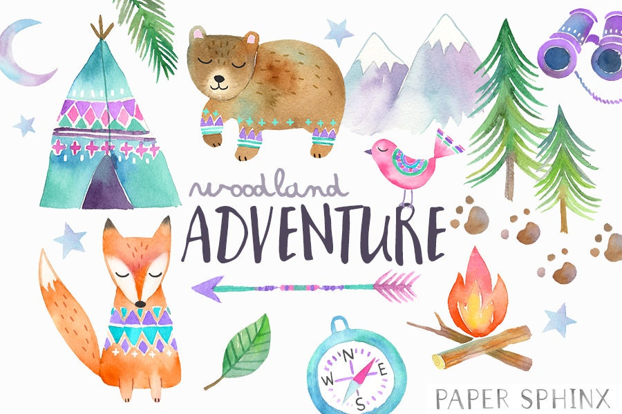 Watercolor Adventure Clipart Woodland Tribal Animals