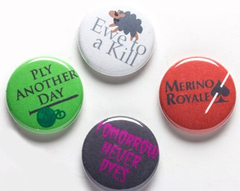 Knitter Theme Buttons, 1 inch pin back, Knitters Movie Night, Set of 4