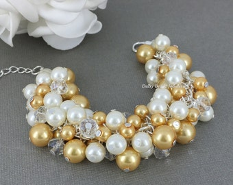 Gold and Ivory Pearl Cluster Bracelet Gold and Ivory Cluster Bracelet Bridal Bracelet Gold and Ivory Bracelet Pearl Chunky Bracelet