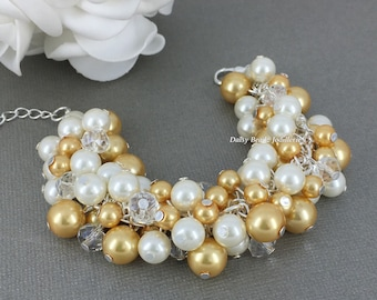 Gold and Ivory Pearl Cluster Bracelet Gold and Ivory Cluster Bracelet Bridesmaids Bracelet Gold and Ivory Bracelet Pearl Chunky Bracelet