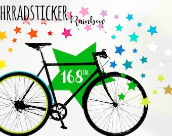Stickers for your bicycle - rainbow stars