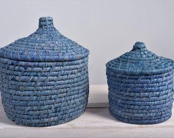 Raffia Basket with lid blue