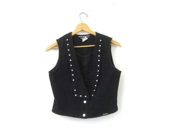 Vintage Black Jean Vest 90s Denim Studded Tank Rocker Button Up Sleeveless Stud Vest Grunge Urban Hipster Vest Womens Medium