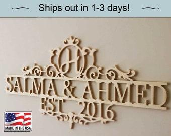 Family name sign Wedding Date Sign- Bridal Shower Gift-Gift for Brides- Wedding Gift- Established Family Signs Wood -Custom Decor Sign, Gift