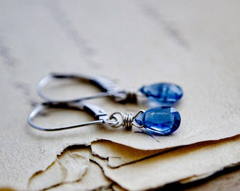 Drop Earrings, White Gold Earrings,14K White Gold, Kyanite Earrings, Fine Jewelry, White Gold, Wire Wrapped, PoleStar, Cobalt Blue