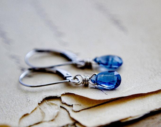 Drop Earrings, White Gold Earrings,14K White Gold, Kyanite Earrings, Fine Jewelry, White Gold, Wire Wrapped, PoleStar, Cobalt Blue