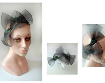Headband wedding black mourning Hat woman, ceremony, ceremonial Headband headband turban