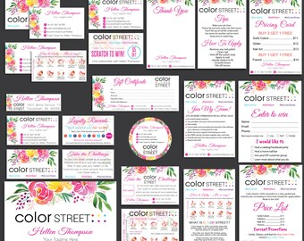 ColorStreet Marketing Kit, Color Street Bundle, Personalized cards, ColorStreet Application, Personalized Cards CL25