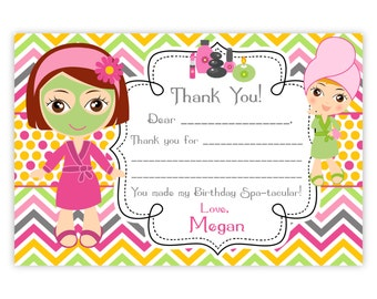 Spa Party Thank You Card - Pink, Orange Chevron, Cute Little Spa Girl Personalized Birthday Party Thank You - a Digital Printable File