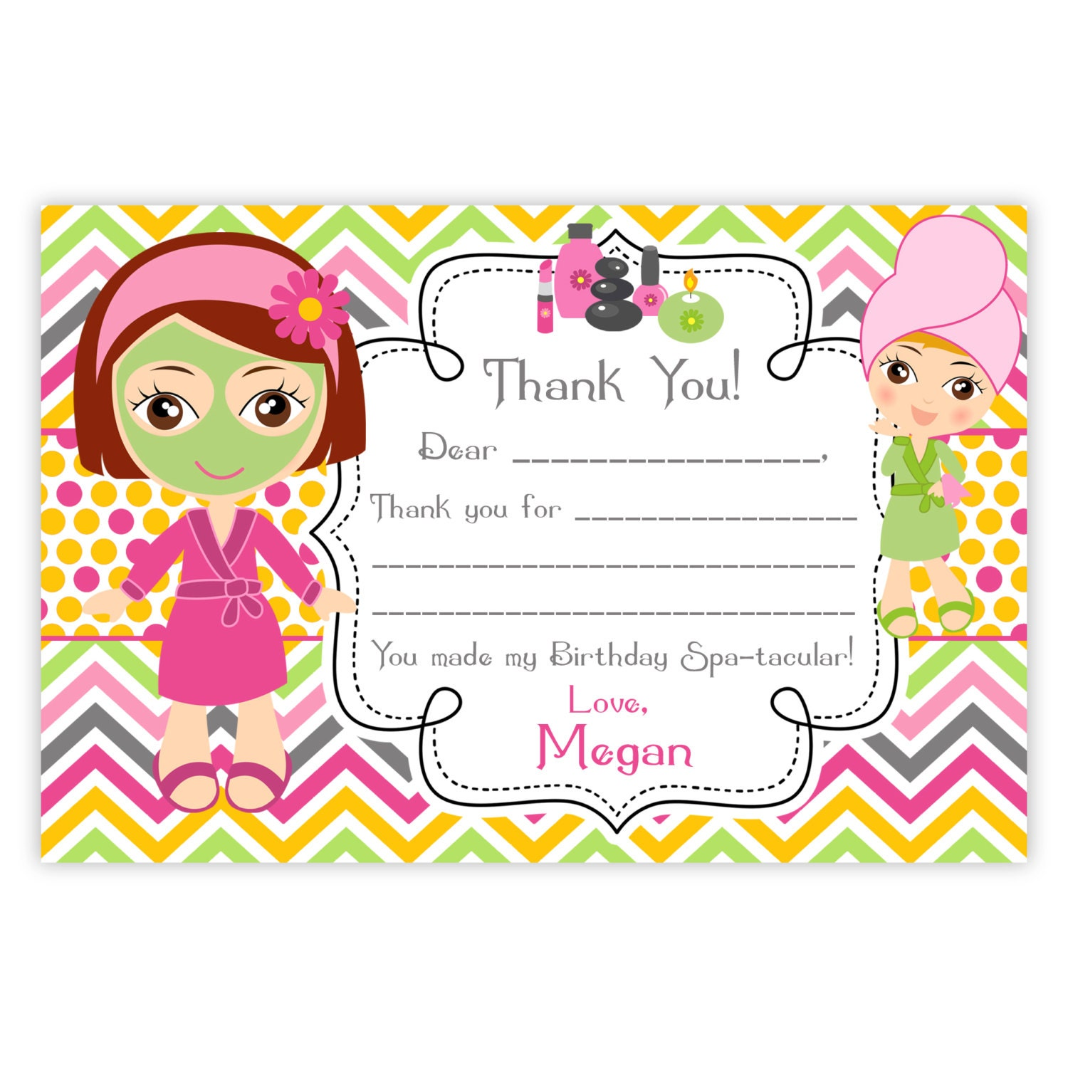 Spa party thank you card pink orange chevron cute little zoom kristyandbryce Images
