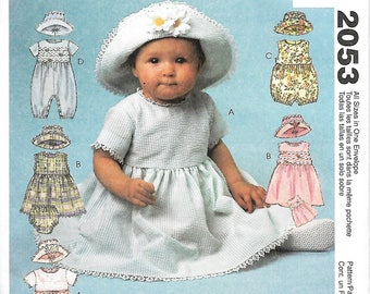 McCall's 2053 Baby Wear Sewing Pattern, Infant's Dress, Rompers In Two Lengths, Panties And Hat, Size S-XL,  UNCUT