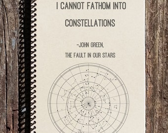 My Thoughts Are Stars - The Fault in Our Stars - John Green Quote - Stars Journal - Constellations - Notebook - Journal - Diary