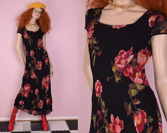 90s Floral Print Maxi Dress/ Medium/ 1990s/ Short Sleeve