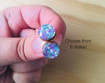 Pastel Passion Resin / Wood Stud Earrings • Various Sizes • Surgical Steel • Hypoallergenic • Pink • Blue • Green • Yellow • Statement