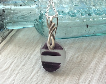 Sea Glass Necklace, Purple Sea Glass Sterling Silver Necklace, Seaham Sea glass