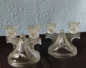Vintage Cut Glass Candle Holders(2)