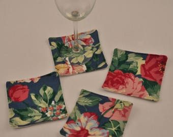 Free Shipping Eco 4 Coasters Red Roses Upcycled Recycled Fabrics Reversible Square OOAK