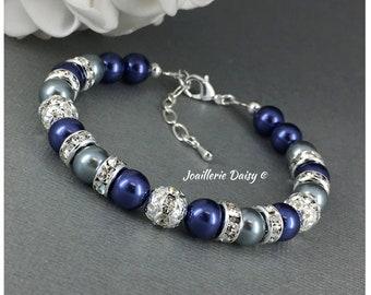Navy Bracelet Navy Necklace Bridesmaid Gift Bridesmaid Jewelry Gray and Navy Wedding Jewelry Gift Idea