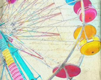 "Carnival amusement park multi color ferris wheel pastel colors blue yellow red pink  - ""Round and Round""  8 x 10"