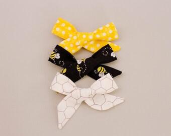 Bubble Bee Bow Set Headband or Hair Clip