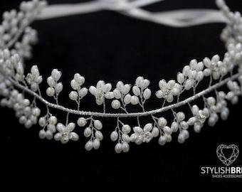 Wedding pearl hair vine, bridal hairpiece, jewelry hair vine, wedding hairpiece, wedding pearl hair wreath, wedding hair vine