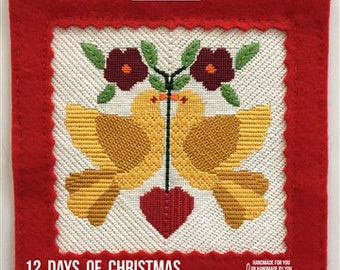 Two Turtle Doves Christmas Needlepoint Canvas