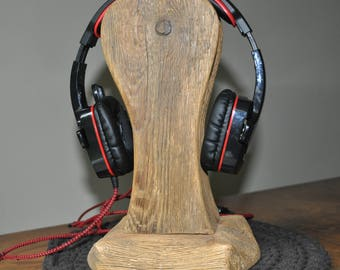 Reclaimed Wood Headphone Stand #4, Wooden Headphone Holder, Drift Wood Headphone Stand, Rustic Headphone Stand  by www.art-tarkowski.com