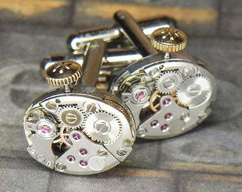 Steampunk Cufflinks Cuff Links - Torch SOLDERED - Vintage Silver HAMILTON Watch Movements w Crowns - Wedding Anniversary Gift - Ultra Clean