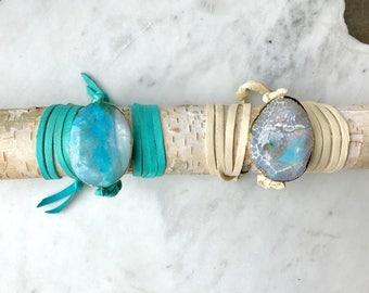 Leather Wrap Bracelet Agate Charm Leather Bracelet Cuff Teal Blue Geode Turquoise Leather Bracelet Wrap Boho Bracelet Bohemian Jewelry GIFT