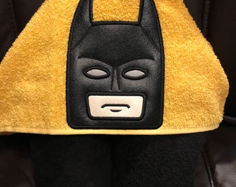 Batman inspired bath, pool or beach hooded towel, kids or adult sizes, perfect gift for any occasion