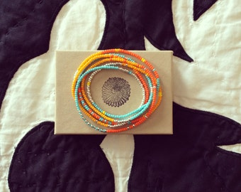 Long Beaded Necklace - Long and Colorful Beaded Necklace - Wrap Bracelet - Neaptide - Turquoise - Orange - Silver - Neaptide