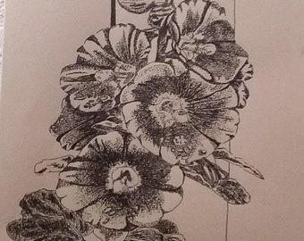 Hollyhocks, Original Ink Drawing