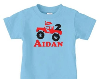 Personalized pickup truck t shirt , monster truck birthday t shirt for boys