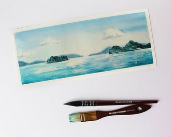Calm Sea watercolor, Seascape watercolor painting, Islands and sea, Thailand nature, Sky clouds sea painting, ORIGINAL Watercolor Painting