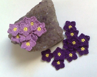 Set of 10 crochet flowers Lavender flowers Dark purple flowers Mini crochet flower Handmade flowers Embellishment