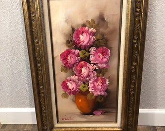 Vintage-Painting-Oil-Framed-Wall Decor-Flowers-Pink-Greenery-Gold-Signed-Wall Hanging-Home Decor