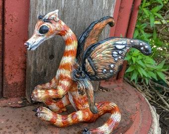 OOAK Fairy Art Doll Sculpture // Fafnir the Orange Tabby Fairy Dragon