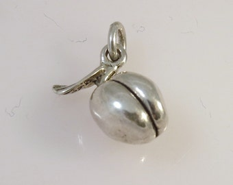 Sterling Silver 3-D PEACH Charm Pendant Fruit Georgia Food Kitchen .925 Sterling Silver New kt23