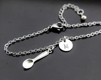 Spoon Bracelet Silver Spoon Charm Bracelet Spoon Charm Spoon Pendant Hand Stamped Spoon Jewelry Personalized Bracelet Initial Charms
