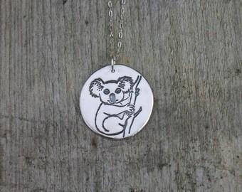 Koala fine silver pendant