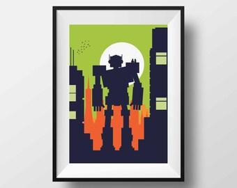 Robot art, Robot print, Robot poster, Robot nursery, robot gift, Big Robot, Giant Robot, Robot, Robot Gift, Robot decoration, Ilustration