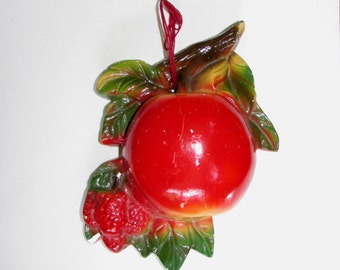 Vintage Chalkware Red Apple Fruit String Holder Wall Plaque, Kitchen Decor, 40s, retro, kitsch, farmhouse, colorful