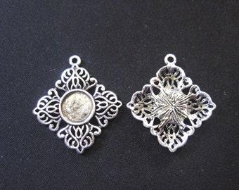 10 Antik Bronze Silber rund 10mm Lünette Tasse Cabochon Halterungen H24200