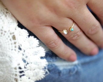 Oval Opal & Turquoise Ring, Vermeil, Opal Jewelry, Stackable Rings