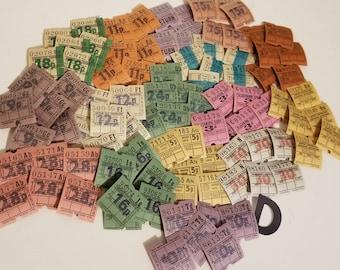 96 old British English Bus tickets color variety Vintage paper supplies ephemera lot mixed media art scrapbook  D 1x
