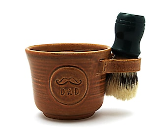 Mustache Shave Mug for Dads, Brown Cream or Blue Husband Gift for Fathers Brush Not Included Made to Order Allow 6 to 8 weeks