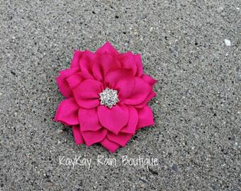 Fuchsia Lotus Flower Hair Clip - Lotus Flower Clip - Girls Flower Hair Clip - Women's Floral Hair Clip - Wedding Hair Clip - Fuchsia Floral