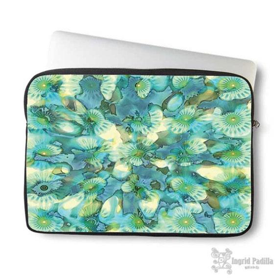 Boho, Blue Laptop Sleeve, Bohemian, Laptop case, Laptop Cover, Turquoise blue, Neoprene, Macbook case, Ingrid Padilla, Abstract, Art