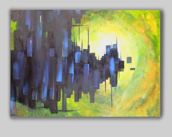 Green and blue abstract canvas
